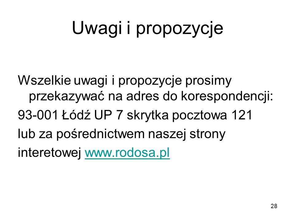 Uwagi i propozycje Wszelkie uwagi i propozycje prosimy przekazywać na adres do korespondencji: 93-001 Łódź UP 7 skrytka pocztowa 121 lub za pośrednict