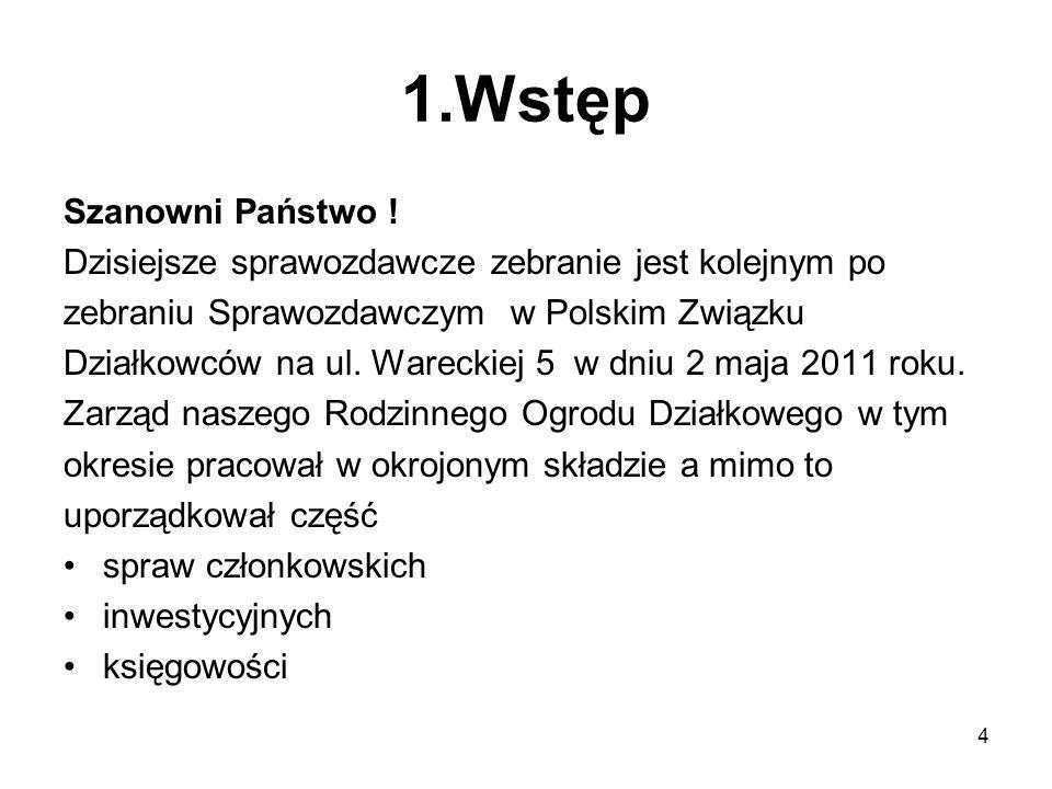 Sprawozdanie z działalności Zarządu ROD,,OSA za rok 2011 Prawo w PZD Ustawa o Rodzinnych Ogrodach Działkowych Statut Polskiego Związku Działkowców, Regulamin ROD.