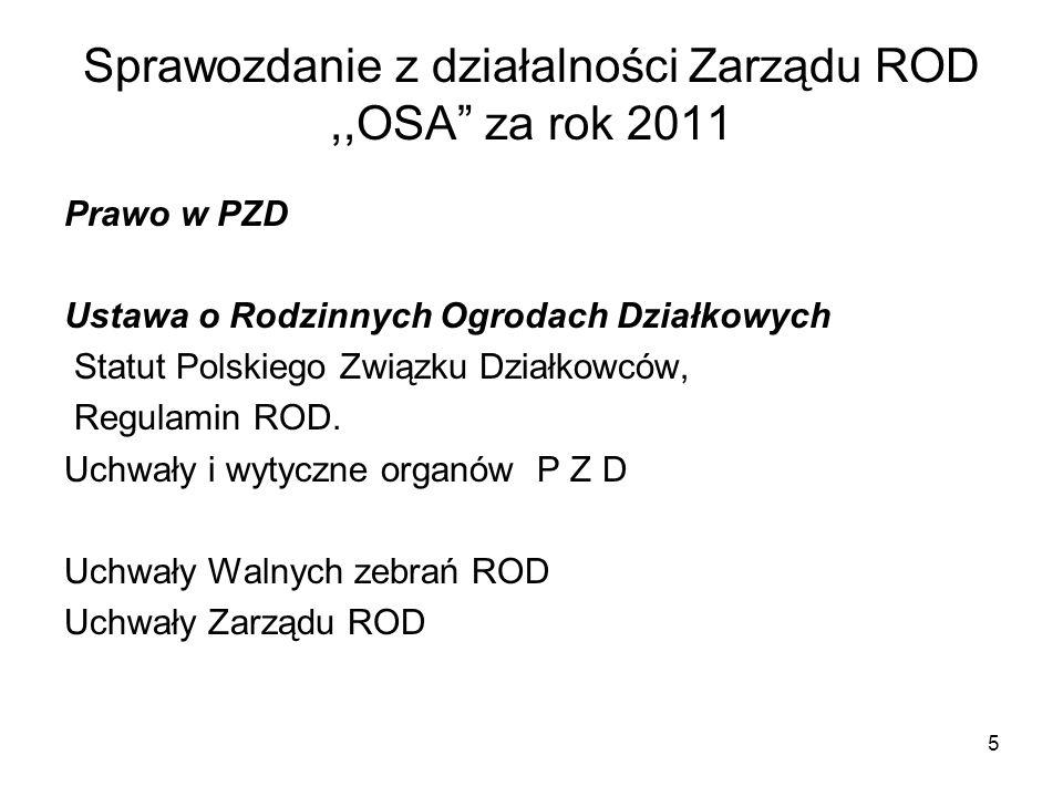 Sprawozdanie z działalności Zarządu ROD,,OSA za rok 2011 Prawo w PZD Ustawa o Rodzinnych Ogrodach Działkowych Statut Polskiego Związku Działkowców, Re