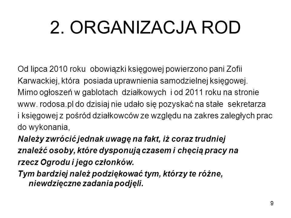 2. ORGANIZACJA ROD Od lipca 2010 roku obowiązki księgowej powierzono pani Zofii Karwackiej, która posiada uprawnienia samodzielnej księgowej. Mimo ogł
