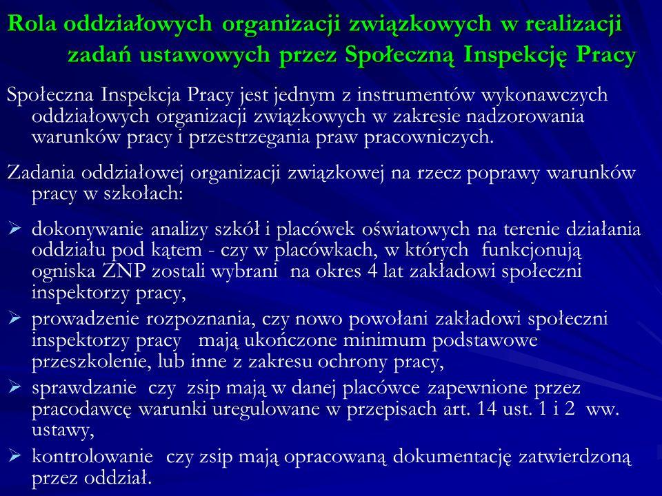 Rola oddziałowych organizacji związkowych w realizacji zadań ustawowych przez Społeczną Inspekcję Pracy Społeczna Inspekcja Pracy jest jednym z instru