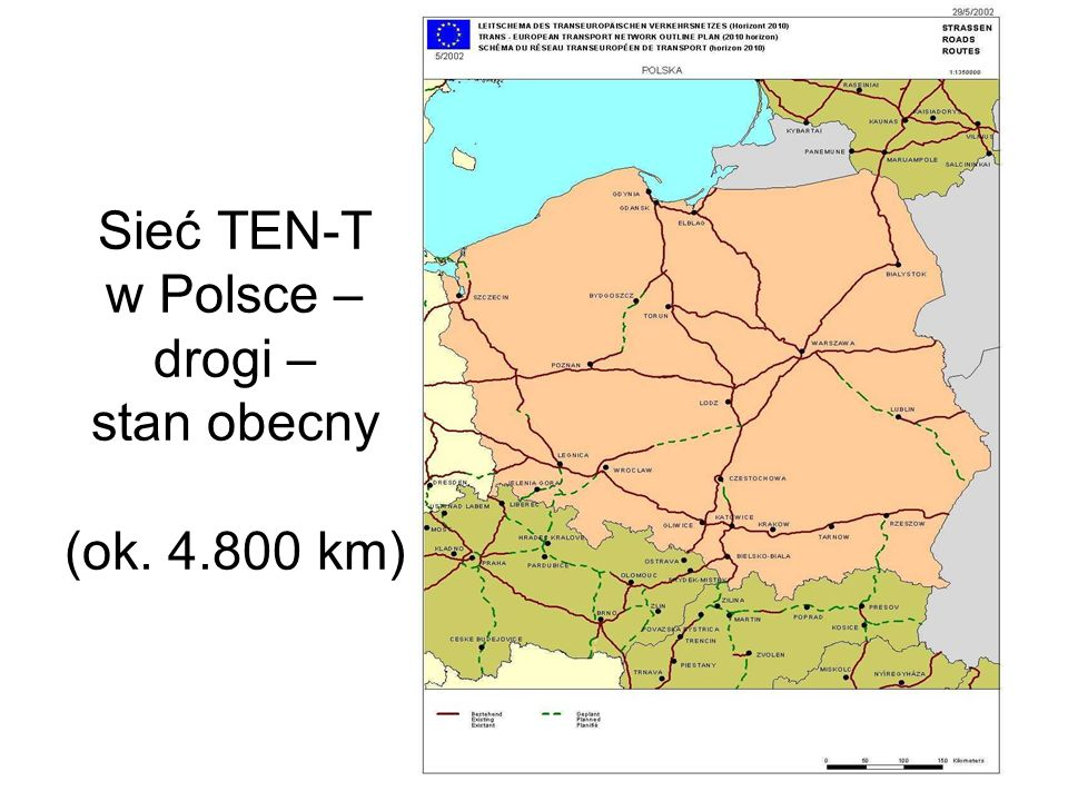 Sieć TEN-T w Polsce – drogi – propozycja (dodatkowo ok. 2.500 km)