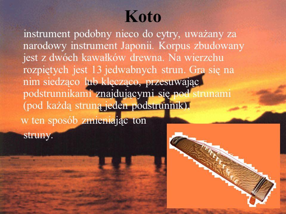 shamisen trójstrunowy instrument szarpany, przypominający swoją budową i sposobem grania banjo.