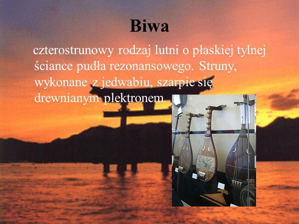 Biwa czterostrunowy rodzaj lutni o płaskiej tylnej ściance pudła rezonansowego. Struny, wykonane z jedwabiu, szarpie się drewnianym plektronem.