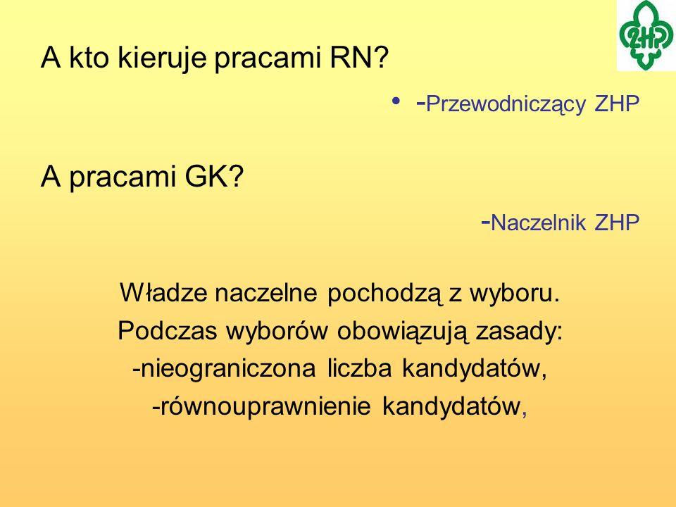 A kto kieruje pracami RN? - Przewodniczący ZHP A pracami GK? - Naczelnik ZHP Władze naczelne pochodzą z wyboru. Podczas wyborów obowiązują zasady: -ni