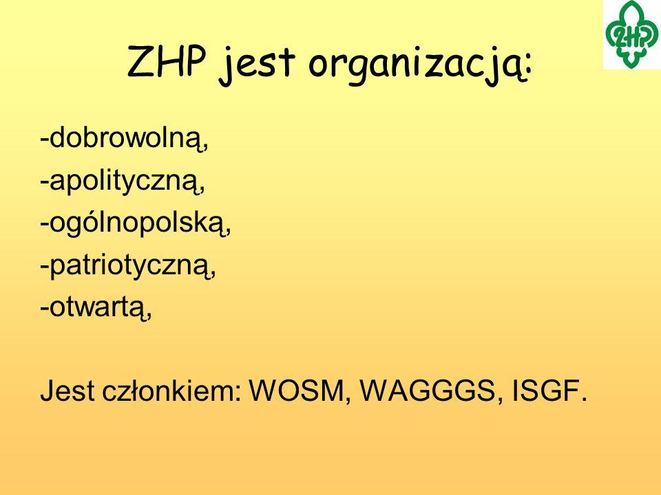 -dobrowolną, -apolityczną, -ogólnopolską, -patriotyczną, -otwartą, Jest członkiem: WOSM, WAGGGS, ISGF. ZHP jest organizacją: