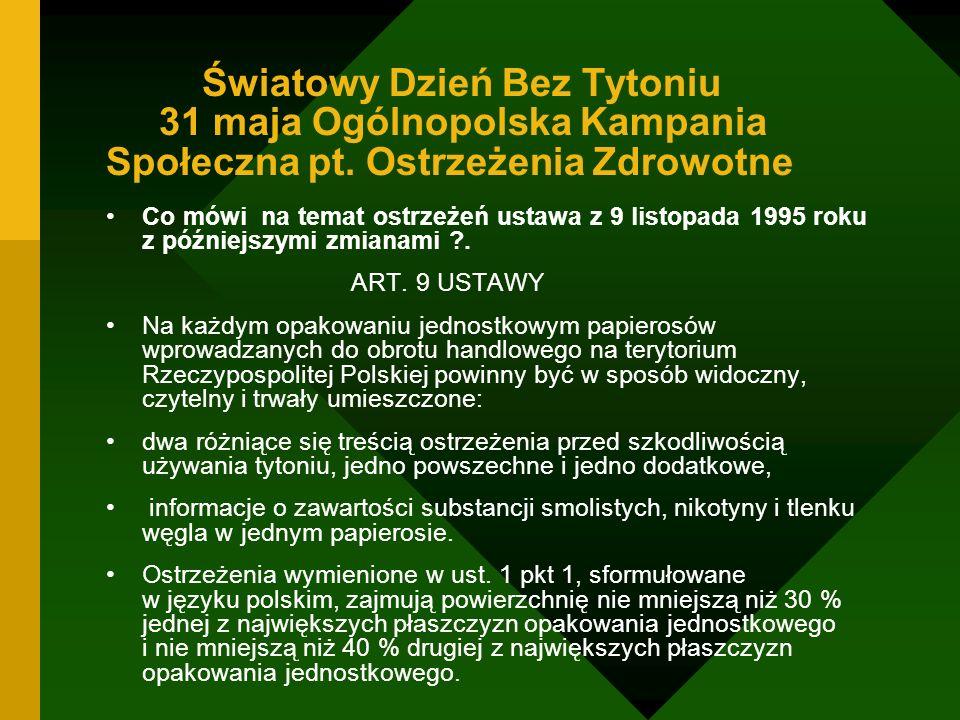 Światowy Dzień Bez Tytoniu 31 maja Ogólnopolska Kampania Społeczna pt. Ostrzeżenia Zdrowotne Co mówi na temat ostrzeżeń ustawa z 9 listopada 1995 roku