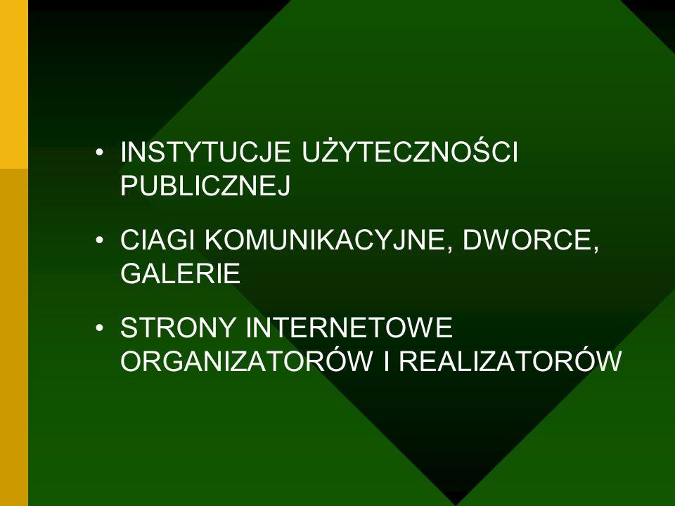 INSTYTUCJE UŻYTECZNOŚCI PUBLICZNEJ CIAGI KOMUNIKACYJNE, DWORCE, GALERIE STRONY INTERNETOWE ORGANIZATORÓW I REALIZATORÓW