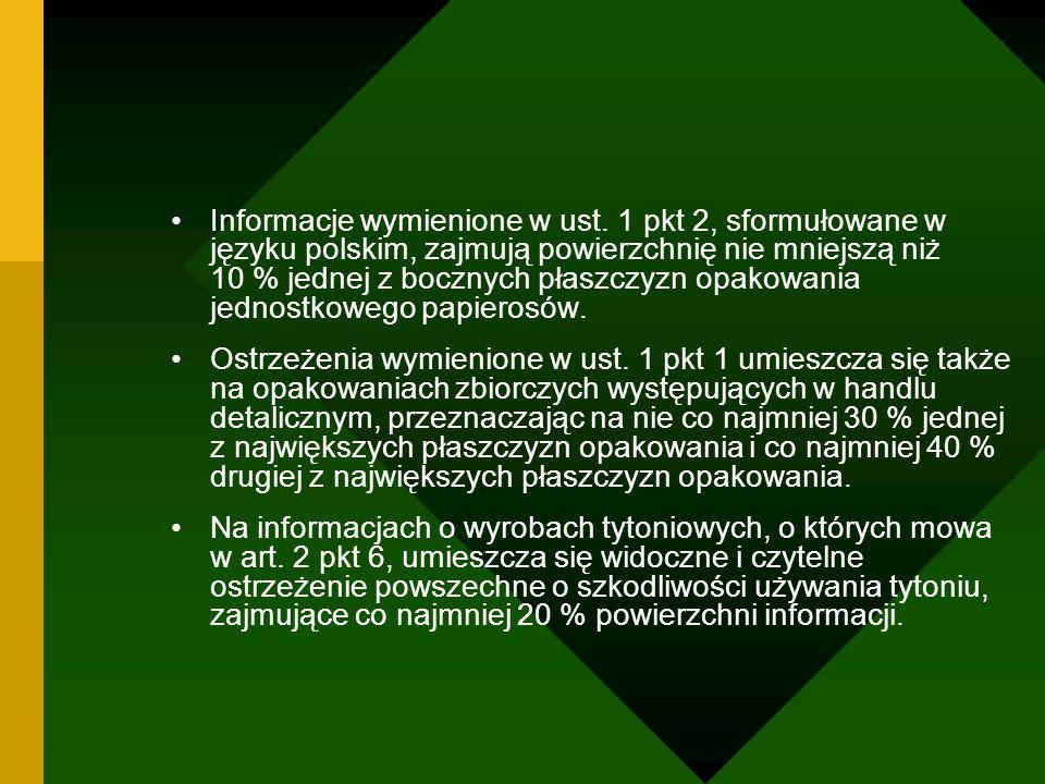 Informacje wymienione w ust. 1 pkt 2, sformułowane w języku polskim, zajmują powierzchnię nie mniejszą niż 10 % jednej z bocznych płaszczyzn opakowani