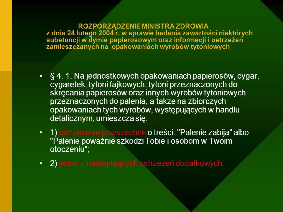 ROZPORZĄDZENIE MINISTRA ZDROWIA z dnia 24 lutego 2004 r. w sprawie badania zawartości niektórych substancji w dymie papierosowym oraz informacji i ost
