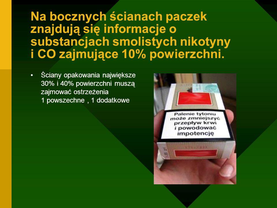Na bocznych ścianach paczek znajdują się informacje o substancjach smolistych nikotyny i CO zajmujące 10% powierzchni. Ściany opakowania największe 30
