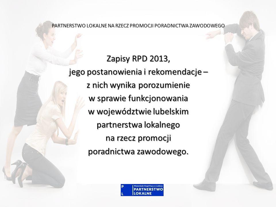 PARTNERSTWO LOKALNE NA RZECZ PROMOCJI PORADNICTWA ZAWODOWEGO Zapisy RPD 2013, jego postanowienia i rekomendacje – z nich wynika porozumienie w sprawie