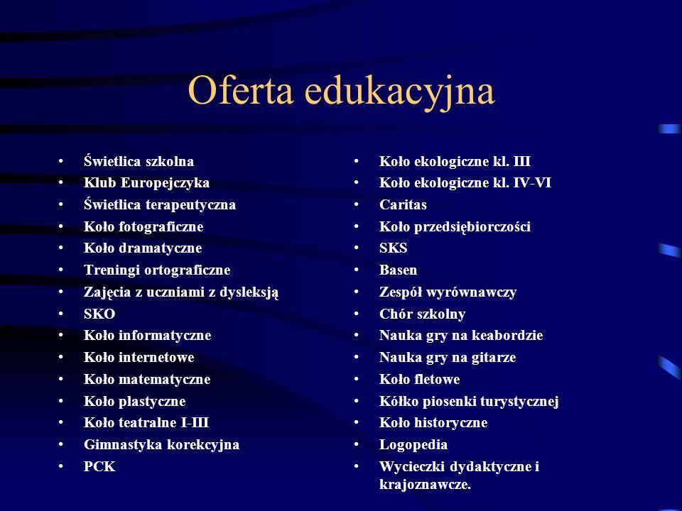 Oferta edukacyjna Świetlica szkolna Klub Europejczyka Świetlica terapeutyczna Koło fotograficzne Koło dramatyczne Treningi ortograficzne Zajęcia z ucz