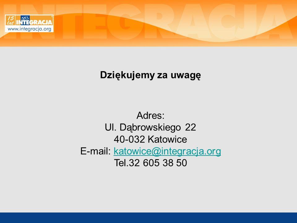 Dziękujemy za uwagę Adres: Ul. Dąbrowskiego 22 40-032 Katowice E-mail: katowice@integracja.orgkatowice@integracja.org Tel.32 605 38 50