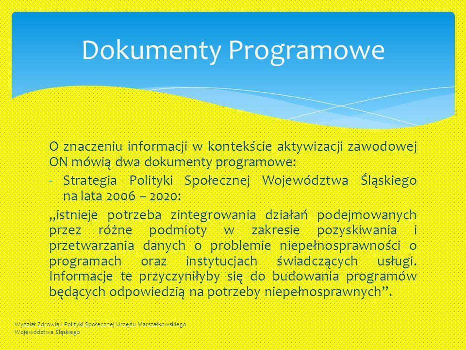 O znaczeniu informacji w kontekście aktywizacji zawodowej ON mówią dwa dokumenty programowe: -Strategia Polityki Społecznej Województwa Śląskiego na l