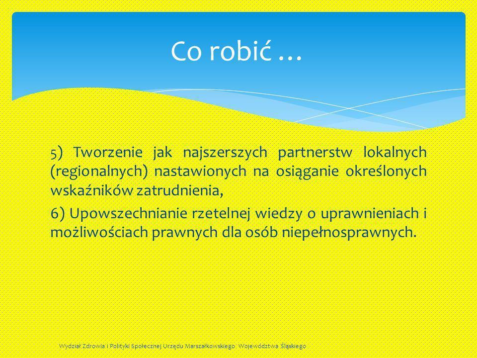5 ) Tworzenie jak najszerszych partnerstw lokalnych (regionalnych) nastawionych na osiąganie określonych wskaźników zatrudnienia, 6) Upowszechnianie r