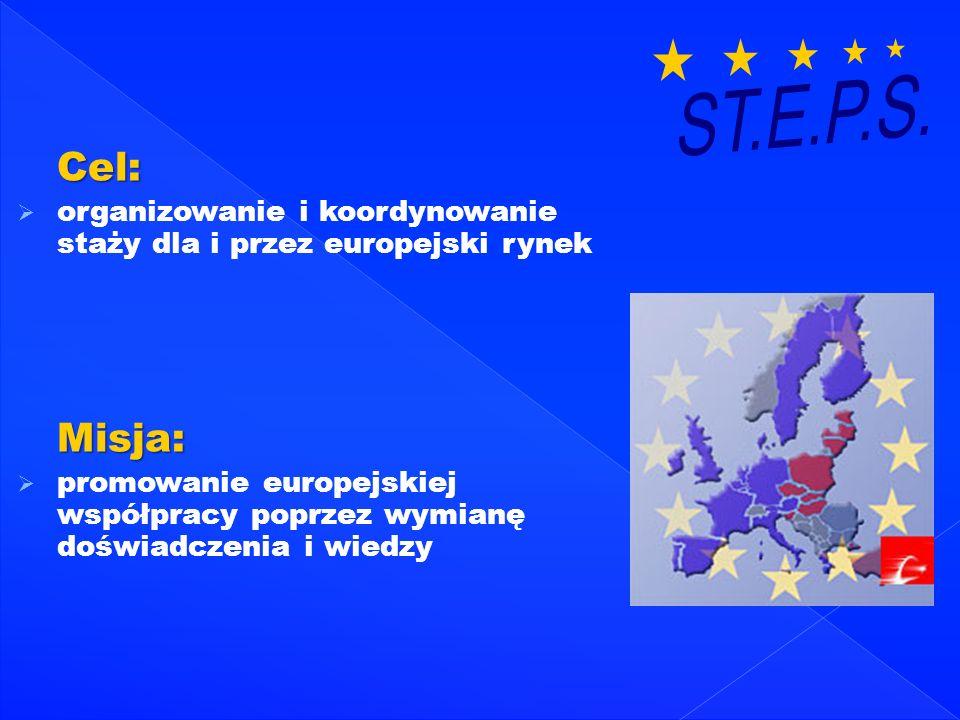 Cel: organizowanie i koordynowanie staży dla i przez europejski rynek Misja: promowanie europejskiej współpracy poprzez wymianę doświadczenia i wiedzy