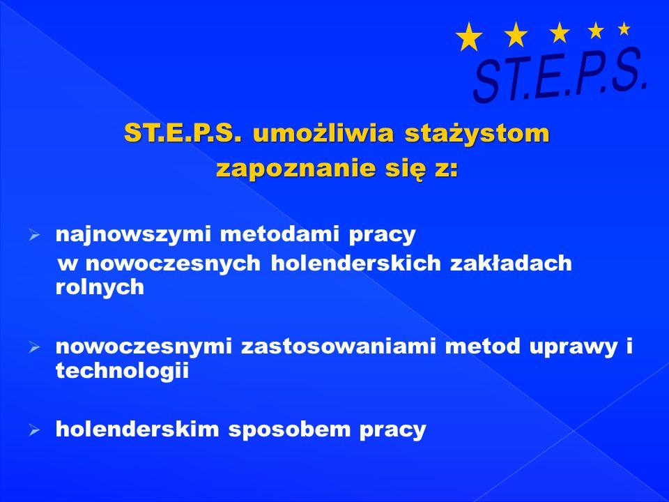 ST.E.P.S. umożliwia stażystom zapoznanie się z: najnowszymi metodami pracy w nowoczesnych holenderskich zakładach rolnych nowoczesnymi zastosowaniami
