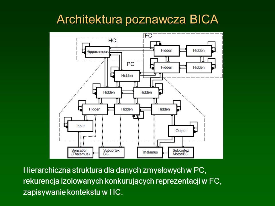 Architektura poznawcza BICA Hierarchiczna struktura dla danych zmysłowych w PC, rekurencja izolowanych konkurujących reprezentacji w FC, zapisywanie k