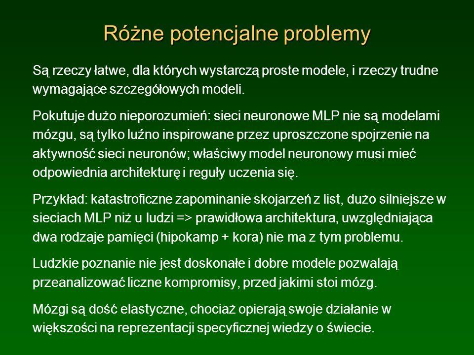 Różne potencjalne problemy Są rzeczy łatwe, dla których wystarczą proste modele, i rzeczy trudne wymagające szczegółowych modeli. Pokutuje dużo niepor