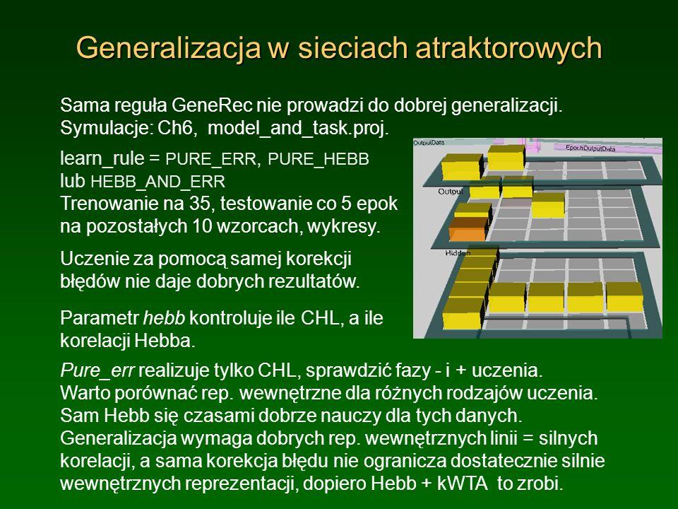 Generalizacja w sieciach atraktorowych Sama reguła GeneRec nie prowadzi do dobrej generalizacji. Symulacje: Ch6, model_and_task.proj. learn_rule = PUR