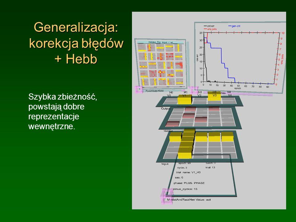 Generalizacja: korekcja błędów + Hebb Szybka zbieżność, powstają dobre reprezentacje wewnętrzne.