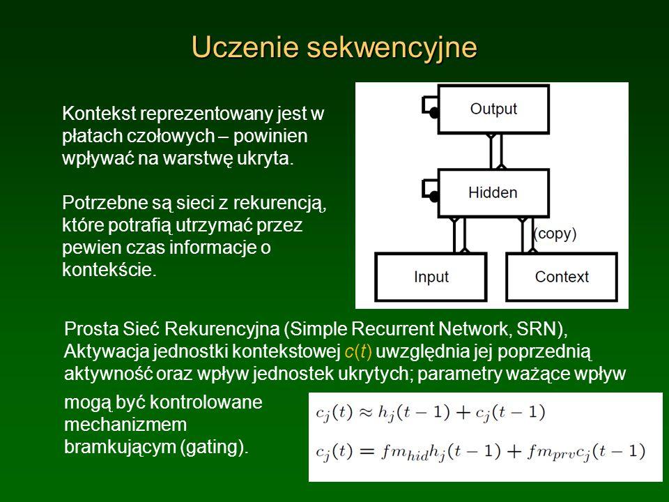 Uczenie sekwencyjne Kontekst reprezentowany jest w płatach czołowych – powinien wpływać na warstwę ukryta. Potrzebne są sieci z rekurencją, które potr