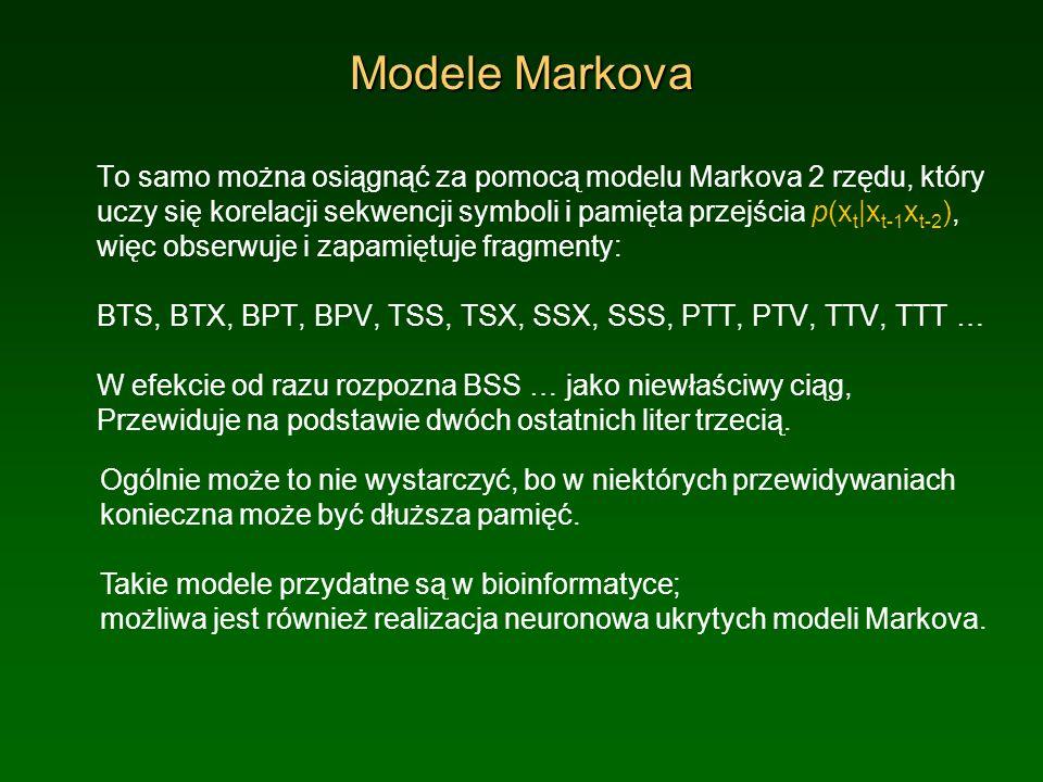 Modele Markova To samo można osiągnąć za pomocą modelu Markova 2 rzędu, który uczy się korelacji sekwencji symboli i pamięta przejścia p(x t |x t-1 x