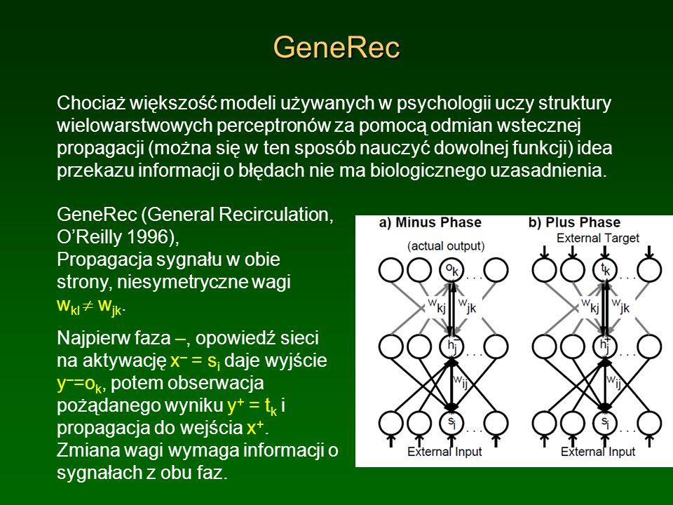 GeneRec Chociaż większość modeli używanych w psychologii uczy struktury wielowarstwowych perceptronów za pomocą odmian wstecznej propagacji (można się