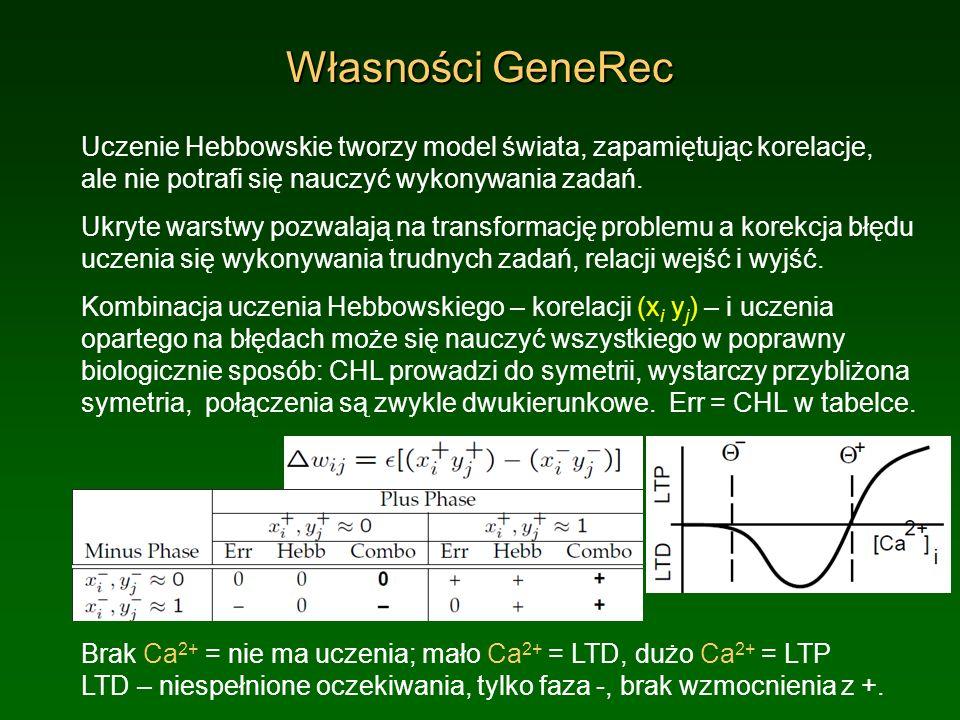 Własności GeneRec Uczenie Hebbowskie tworzy model świata, zapamiętując korelacje, ale nie potrafi się nauczyć wykonywania zadań. Ukryte warstwy pozwal