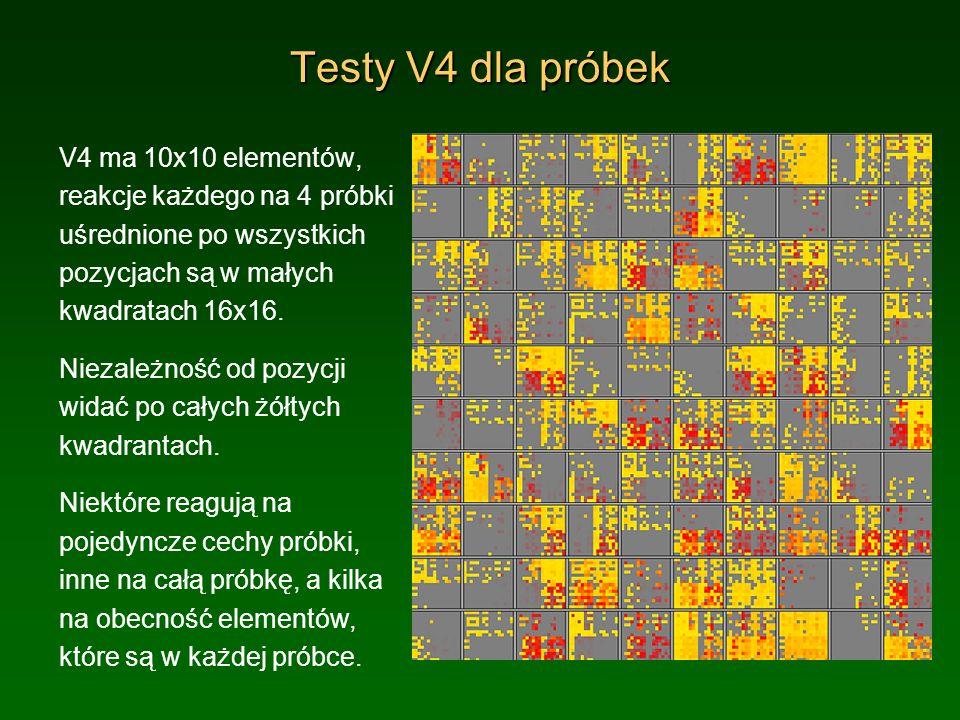 Testy statystyczne Tabela na następnym slajdzie podsumowuje wyniki testu prezentacji 20 obiektów we wszystkich pozycjach i reakcji (dla progu >0.5) elementów V4 na te prezentacje.