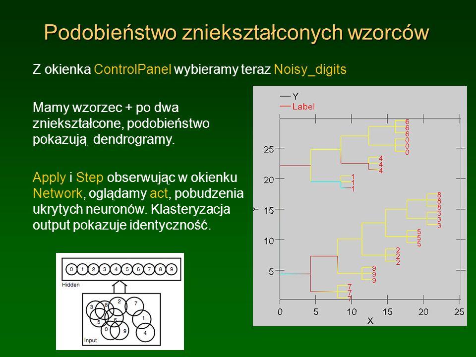 Podobieństwo zniekształconych wzorców Z okienka ControlPanel wybieramy teraz Noisy_digits Mamy wzorzec + po dwa zniekształcone, podobieństwo pokazują