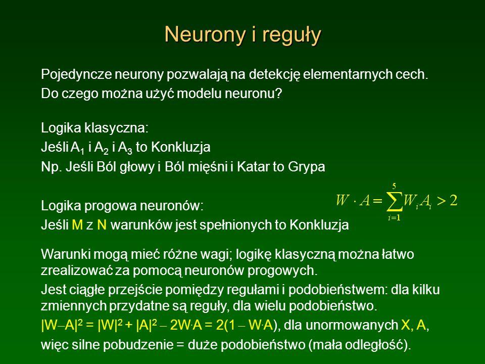 Neurony i reguły Pojedyncze neurony pozwalają na detekcję elementarnych cech. Do czego można użyć modelu neuronu? Logika klasyczna: Jeśli A 1 i A 2 i