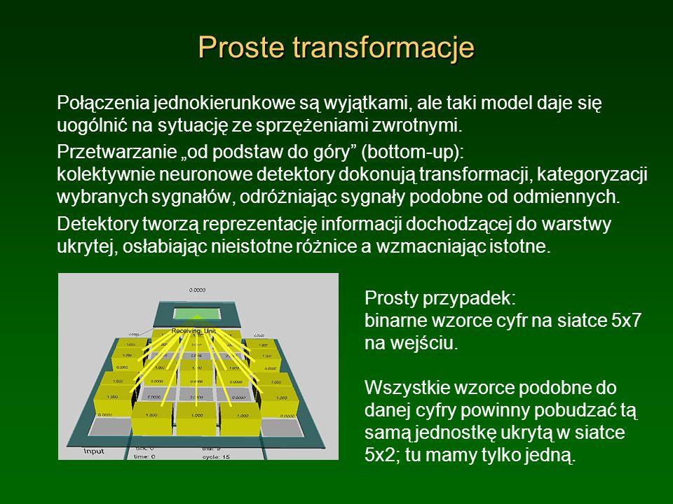 Proste transformacje Połączenia jednokierunkowe są wyjątkami, ale taki model daje się uogólnić na sytuację ze sprzężeniami zwrotnymi. Przetwarzanie od