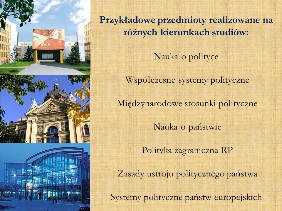Przykładowe przedmioty realizowane na różnych kierunkach studiów: Nauka o polityce Współczesne systemy polityczne Międzynarodowe stosunki polityczne N