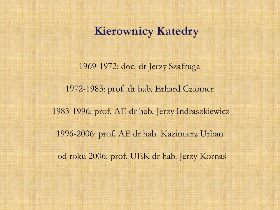 Kierownicy Katedry 1969-1972: doc. dr Jerzy Szafruga 1972-1983: prof. dr hab. Erhard Cziomer 1983-1996: prof. AE dr hab. Jerzy Indraszkiewicz 1996-200