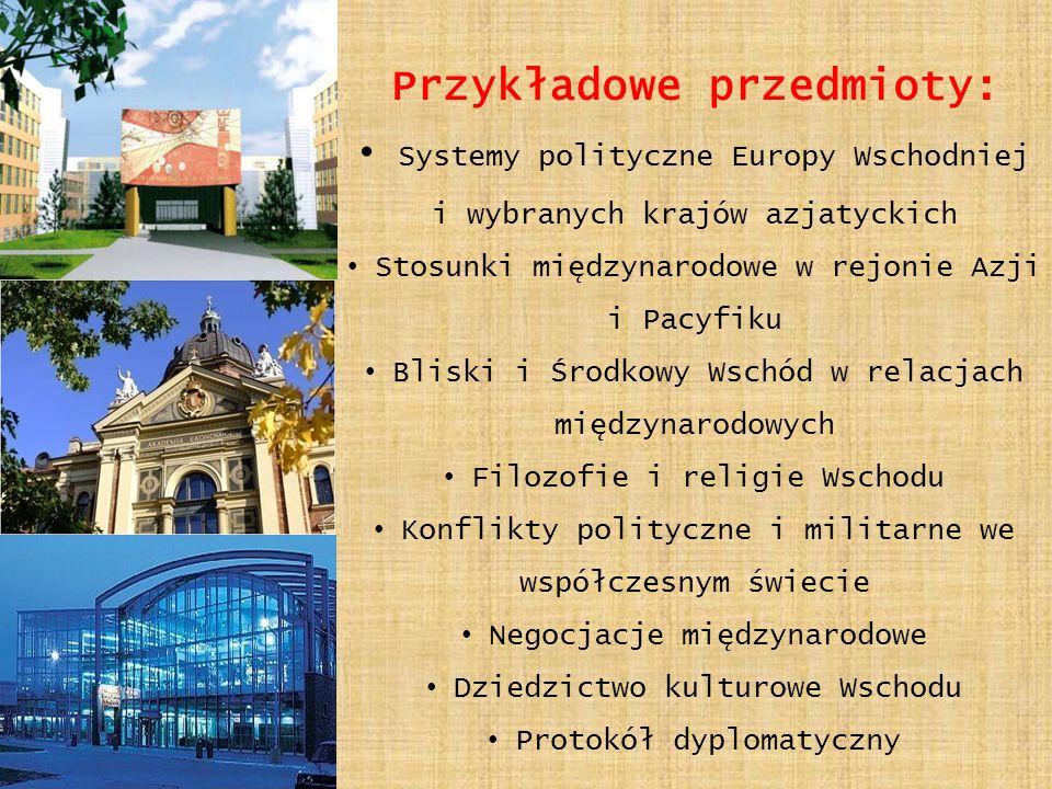 Przykładowe przedmioty: Systemy polityczne Europy Wschodniej i wybranych krajów azjatyckich Stosunki międzynarodowe w rejonie Azji i Pacyfiku Bliski i