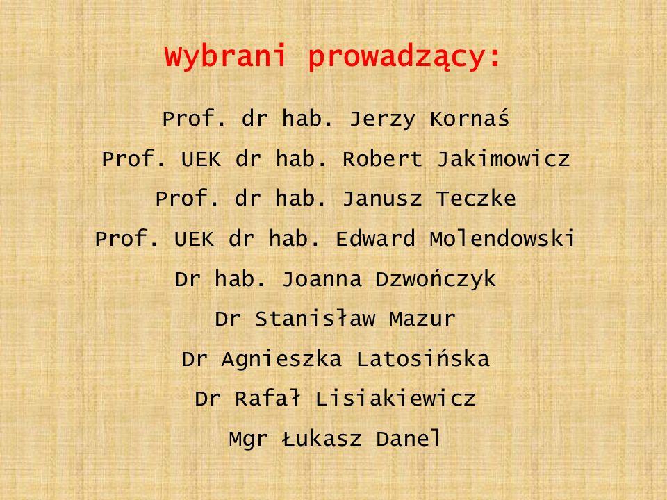 Wybrani prowadzący: Prof.dr hab. Jerzy Kornaś Prof.