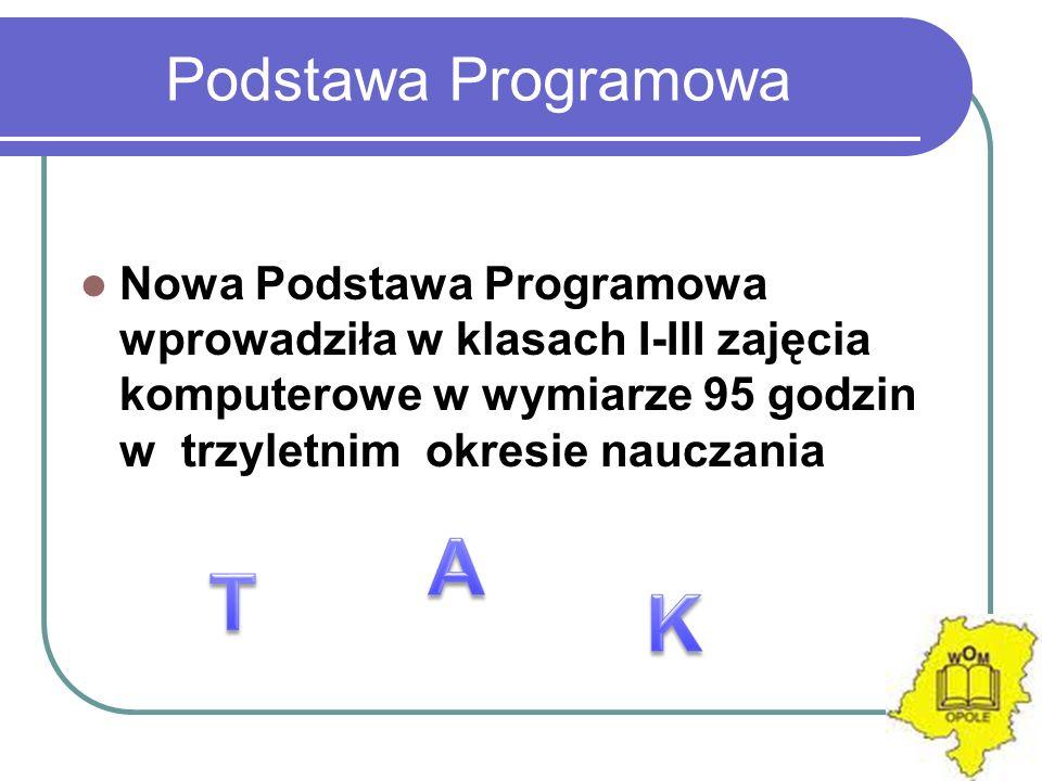Podstawa Programowa Nowa Podstawa Programowa wprowadziła w klasach I-III zajęcia komputerowe w wymiarze 95 godzin w trzyletnim okresie nauczania