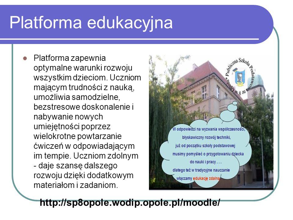 Platforma edukacyjna Platforma zapewnia optymalne warunki rozwoju wszystkim dzieciom. Uczniom mającym trudności z nauką, umożliwia samodzielne, bezstr