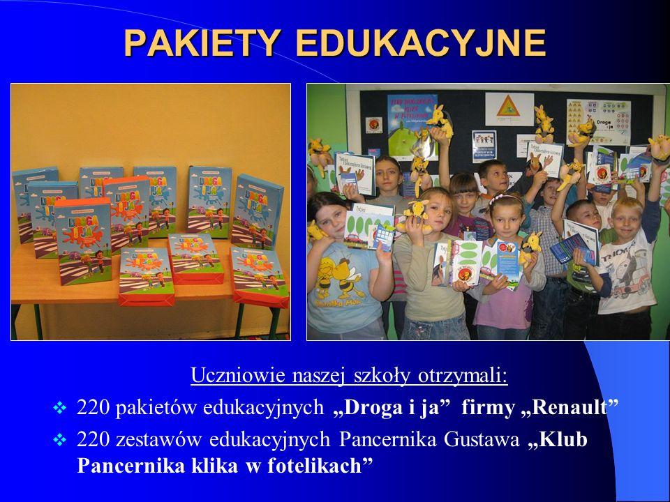 PAKIETY EDUKACYJNE Uczniowie naszej szkoły otrzymali: 220 pakietów edukacyjnych Droga i ja firmy Renault 220 zestawów edukacyjnych Pancernika Gustawa Klub Pancernika klika w fotelikach
