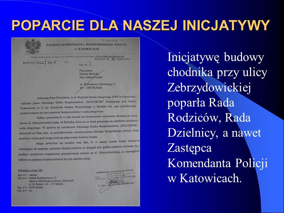 POPARCIE DLA NASZEJ INICJATYWY Inicjatywę budowy chodnika przy ulicy Zebrzydowickiej poparła Rada Rodziców, Rada Dzielnicy, a nawet Zastępca Komendanta Policji w Katowicach.