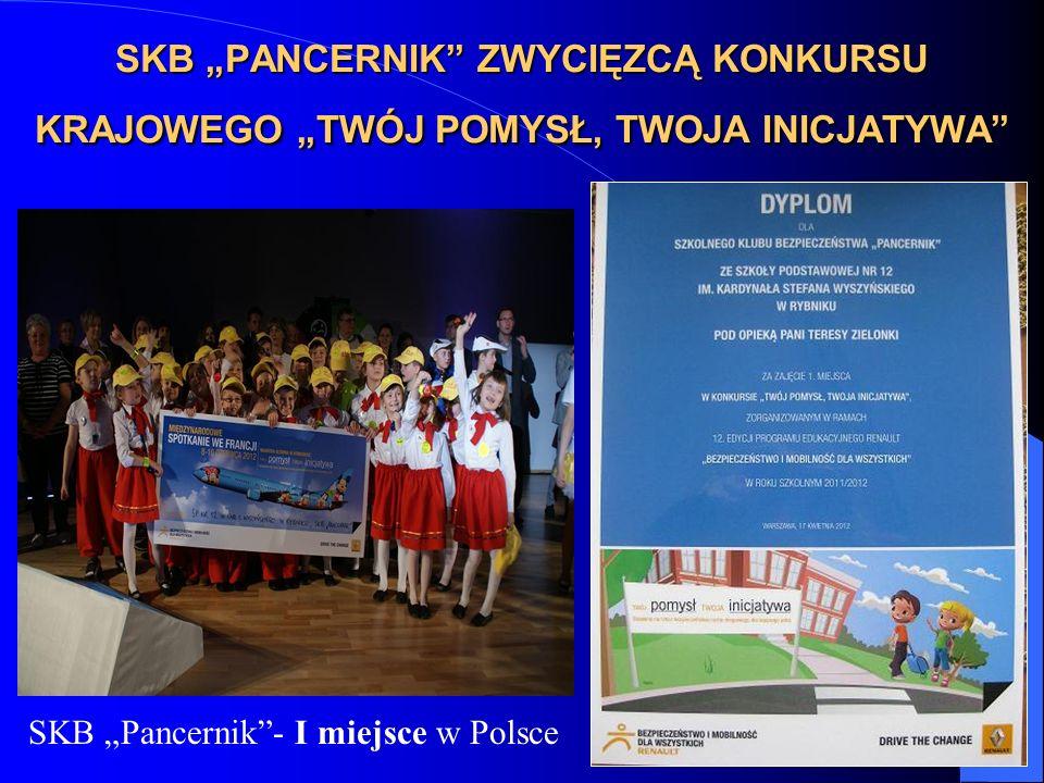 SKB PANCERNIK ZWYCIĘZCĄ KONKURSU KRAJOWEGO TWÓJ POMYSŁ, TWOJA INICJATYWA SKB Pancernik- I miejsce w Polsce