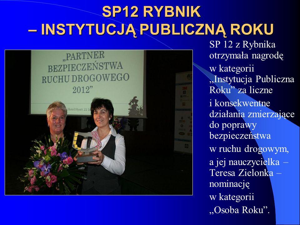 SP12 RYBNIK – INSTYTUCJĄ PUBLICZNĄ ROKU SP 12 z Rybnika otrzymała nagrodę w kategorii Instytucja Publiczna Roku za liczne i konsekwentne działania zmierzające do poprawy bezpieczeństwa w ruchu drogowym, a jej nauczycielka – Teresa Zielonka – nominację w kategorii Osoba Roku.