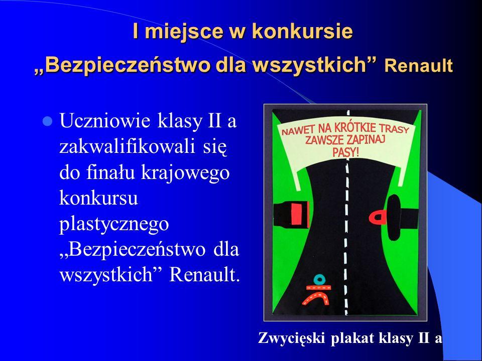 I miejsce w konkursie Bezpieczeństwo dla wszystkich Renault Uczniowie klasy II a zakwalifikowali się do finału krajowego konkursu plastycznego Bezpieczeństwo dla wszystkich Renault.