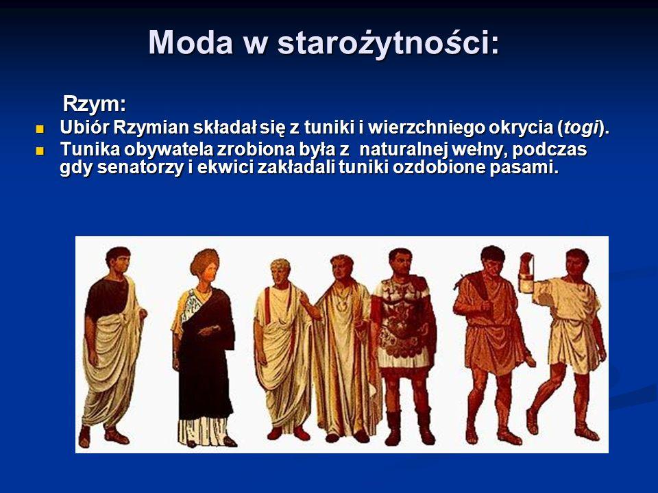 Moda w starożytności: Rzym: Rzym: Ubiór Rzymian składał się z tuniki i wierzchniego okrycia (togi). Ubiór Rzymian składał się z tuniki i wierzchniego