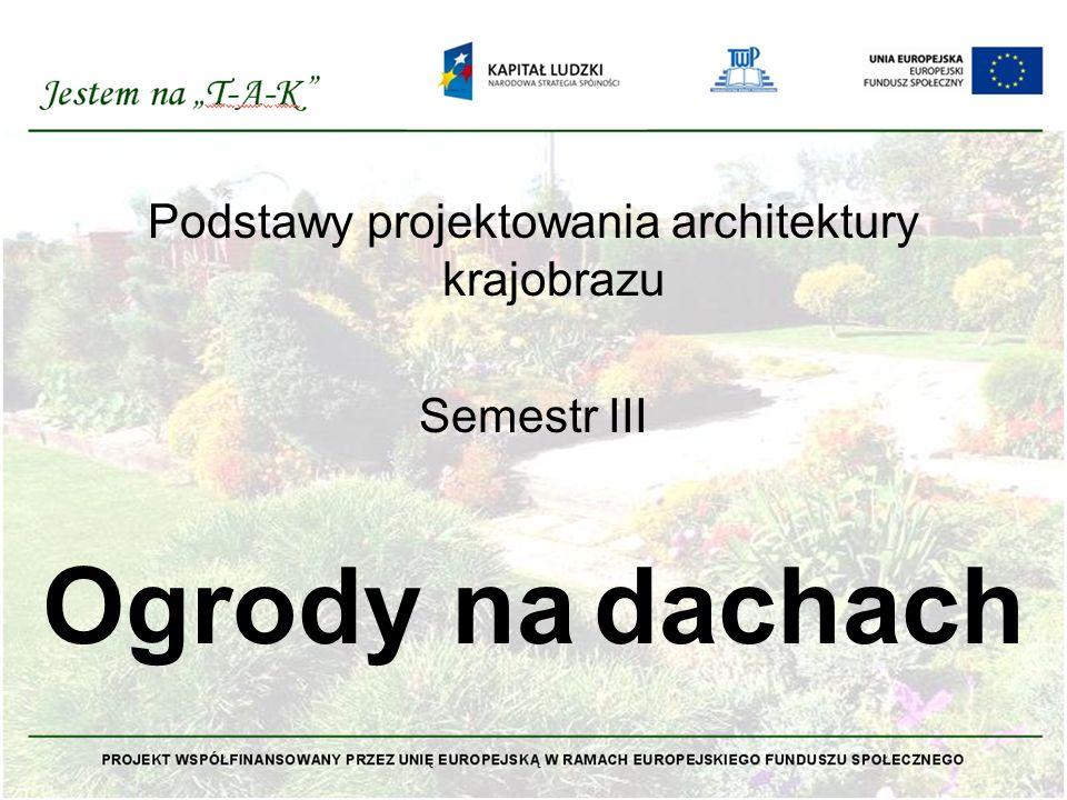 Podstawy projektowania architektury krajobrazu Semestr III Ogrody na dachach