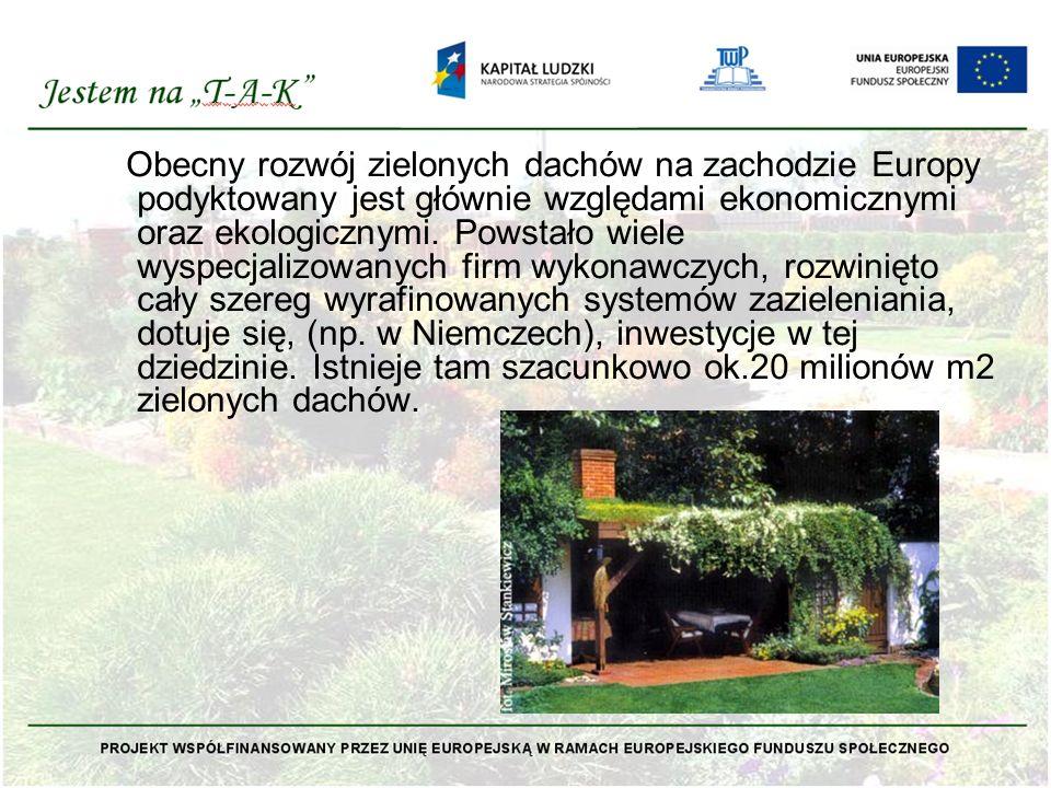 Obecny rozwój zielonych dachów na zachodzie Europy podyktowany jest głównie względami ekonomicznymi oraz ekologicznymi. Powstało wiele wyspecjalizowan
