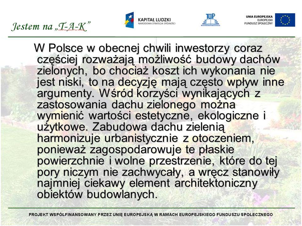 W Polsce w obecnej chwili inwestorzy coraz częściej rozważają możliwość budowy dachów zielonych, bo chociaż koszt ich wykonania nie jest niski, to na