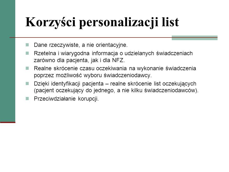 Korzyści personalizacji list Dane rzeczywiste, a nie orientacyjne. Rzetelna i wiarygodna informacja o udzielanych świadczeniach zarówno dla pacjenta,